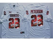 Mens Ncaa Nfl Oklahoma Sooners #28 Adrian Peterson White Fashion Version Jersey