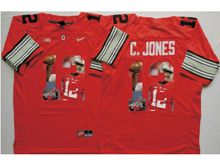 Mens Ncaa Nfl Ohio State Buckeyes #12 Cardale Jones Red Gray Fashion Version Jersey