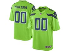 Mens Seattle Seahawks (custom Made) Green Color Rush Limited Jersey