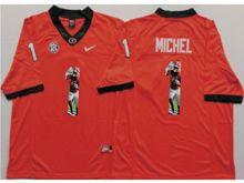 Mens Ncaa Nfl Georgia Bulldogs #1 Sony Michel Red Fashion Version Jersey