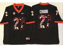 Mens Ncaa Nfl Georgia Bulldogs #27 Nick Chubb Black Fashion Version Jersey