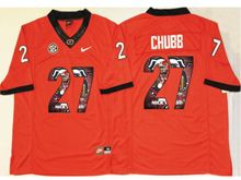 Mens Ncaa Nfl Georgia Bulldogs #27 Nick Chubb Red Fashion Version Jersey