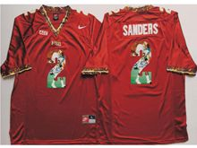 Mens Ncaa Nfl Florida State Seminoles #2 Deion Sanders Red Fashion Version Jersey
