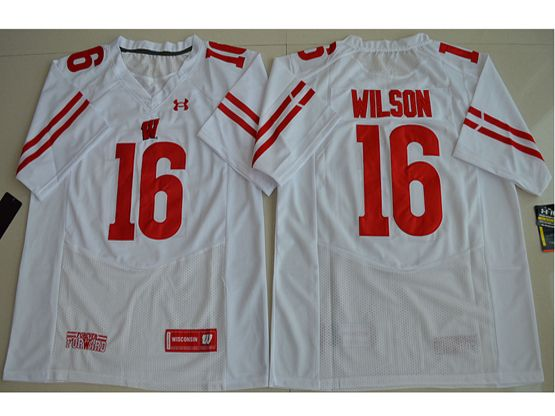 Mens Ncaa Nfl Wisconsin Badgers #16 Russell Wilson White Limited Jersey