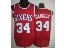 Mens Nba Philadelphia 76ers #34 Charles Barkley Red (white Number) Mesh Jersey