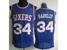 Mens Nba Philadelphia Sixers #34 Charles Barkley Blue (white Number) Mesh Jersey