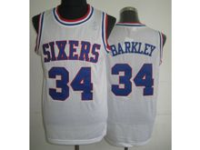 Mens Nba Philadelphia 76ers #34 Charles Barkley White (blue Number) Mesh Jersey