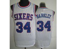 Mens Nba Philadelphia Sixers #34 Charles Barkley White (blue Number) Mesh Jersey