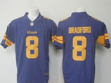 Mens   Minnesota Vikings #8 Sam Bradford Purple Color Rush Limited Jersey