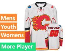 Mens Women Youth Reebok Calgary Flames White Away Premier Jersey