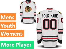 Mens Women Youth Reebok Chicago Blackhawks White Away Premier Jersey