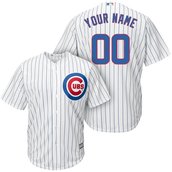 Mens Women Youth Majestic Chicago Cubs White Stripe Cool Base Jersey