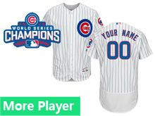 Mens Women Youth Majestic Chicago Cubs White Stripe 2016 World Series Champions Team Logo Patch Flex Base Jersey