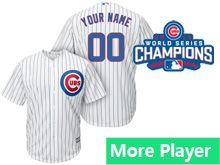 Mens Women Youth Majestic Chicago Cubs White Stripe 2016 World Series Champions Cool Base Jersey