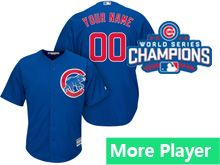 Mens Women Youth Majestic Chicago Cubs Blue 2016 World Series Champions Cool Base Jersey