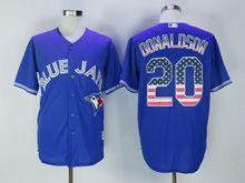 Mens Majestic Toronto Blue Jays #20 Josh Donaldson Blue Usa Flag Jersey
