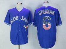 Mens Majestic Toronto Blue Jays #6 Marcus Stroman Blue Usa Flag Jersey