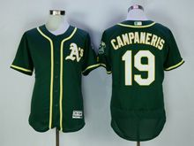 Mens Majestic Mlb Oakland Athletics #19 Campaneris Green Flex Base Jersey