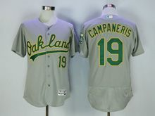 Mens Majestic Mlb Oakland Athletics #19 Campaneris Gray Flex Base Jersey