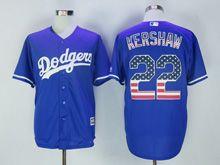 Mens Majestic Mlb Los Angeles Dodgers #22 Clayton Kershaw Blue Usa Flag Jersey