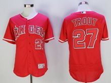 Mens Majestic Los Angeles Dodgers #27 Mike Trout Red Flex Base Jersey