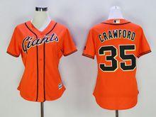 Women Majestic Mlb San Francisco Giants #35 Brandon Crawford Orange Jersey