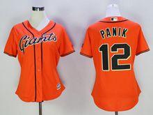 Women Majestic Mlb San Francisco Giants #12 Joe Panik Orange Jersey