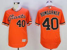 Mens Mlb San Francisco Giants #40 Bumgarner Orange Pullover Flex Base Jersey