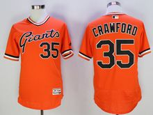 Mens Mlb San Francisco Giants #35 Crawford Orange Pullover Flex Base Jersey