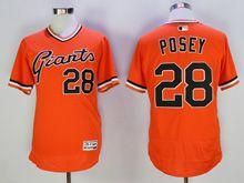 Mens Mlb San Francisco Giants #28 Posey Orange Pullover Flex Base Jersey