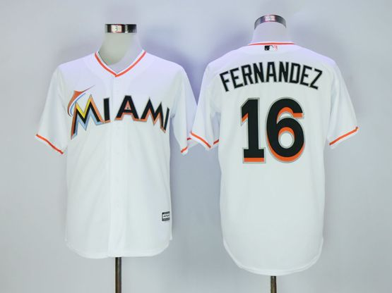 Mens Mlb Miami Marlins #16 Jose Fernandez White Cool Base Jersey