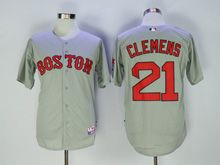 Mens Mlb Boston Red Sox #21 Roger Clemens Gray Cool Base Jersey