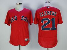 Mens Majestic Boston Red Sox #21 Roger Clemens Red Flex Base Jersey