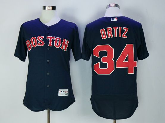 Mens Majestic Boston Red Sox #34 David Ortiz Dark Navy Blue Flex Base Jersey