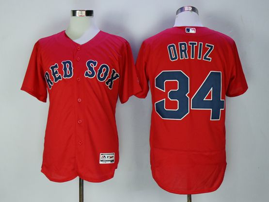 Mens Majestic Boston Red Sox #34 David Ortiz Red Flex Base Jersey