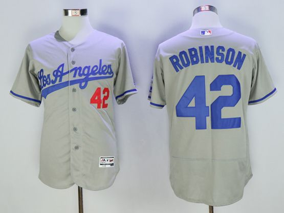 Mens Majestic Los Angeles Dodgers #42 Ackie Robinson Gray Flex Base Jersey