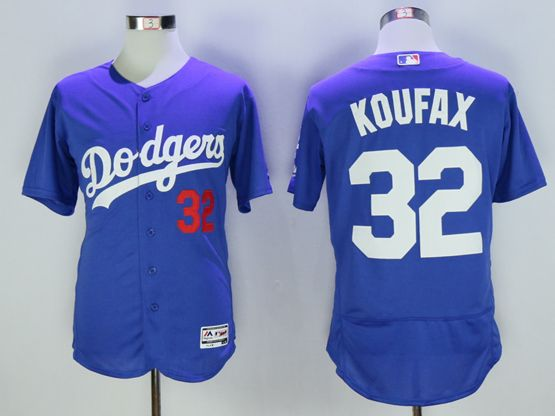 Mens Majestic Los Angeles Dodgers #32 Sandy Koufax Blue Flex Base Jersey