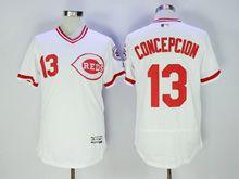 Mens Mlb Cincinnati Reds #13 Concepcion White Pullover Flex Base Jersey