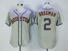 Mens Majestic Houston Astros #2 Alex Bregman Gray Flex Base Jersey
