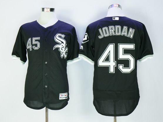 Mens Majestic Chicago White Sox #45 Michael Jordan Black Flex Base Jersey