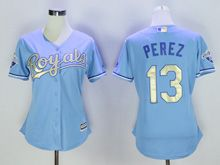 Women Mlb Kansas City Royals #13 Salvador Perez Light Blue Jersey