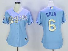 Women Mlb Kansas City Royals #6 Lorenzo Cain Light Blue Jersey
