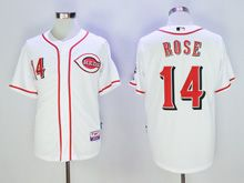 Mens Mlb Cincinnati Reds #14 Pete Rose White Cool Base Jersey