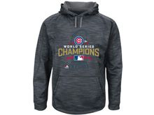 Mens Chicago Cubs Majestic Charcoal 2016 World Series Champions Locker Room Streak Fleece Pullover Hoodie