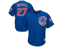 Mens Majestic Chicago Cubs #27 Addison Russell Blue 2016 World Series Champions Alternate Cool Base Jersey