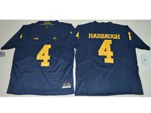 Mens Ncaa Nfl Michigan Wolverines #4 Harbaugh Blue Elite Jersey