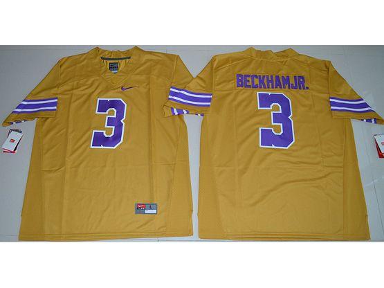 Mens Ncaa Nfl Lsu Tigers #3 Beckham Jr. Gold Limited Jersey