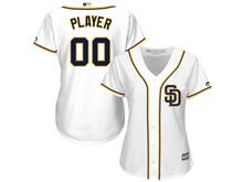 Women Majestic Mlb San Diego Padres (custom Made) White Cool Base Jersey
