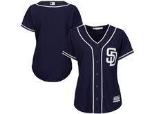 Women Majestic Mlb San Diego Padres (custom Made) Blue Cool Base Jersey