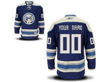 Mens Women Youth Columbus Blue Jackets (custom Made) Navy Blue Alternate Premier Jersey